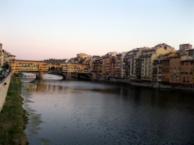 View of the Arno River and the famous Ponte Vecchio