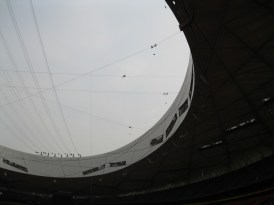 Inside the Bird's Nest - see the man walking the wire?