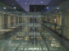 Hotel at night. Strands of lights hanging
