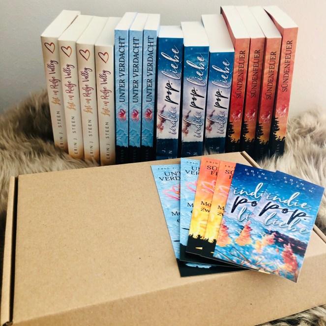 Alles Bücher der Autorin Erin J. Steen auf einen Blick: Lost in Ridge Valley Unter Verdacht (Moorkamps Fälle 1) Sündenfeuer (Moorkamps Fälle 2) Indie.Pop.Liebe