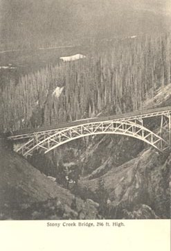 Stony Creek Bridge, 296 ft. High, ca. 1905. Postcard. Manu'd by Thomson Stationary Co. (CHIN search: train bridge)