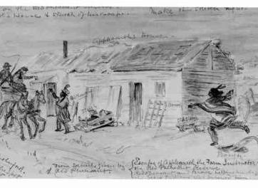 Bill Waiser. Loyal Till Death: Indians and the Northwest Rebellion, 1885. Sketch, (8 x 16.5 mm). SAIN Bill Waiser Fonds, B19-Photos-Cree