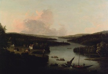Francis Swaine. A View of Miramichi, after 1760. Oil on canvas (73.5 x 106.8 cm). NGC no. 4976