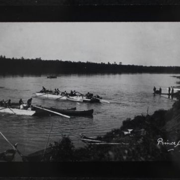 Loading H.B.C. barges at Prince Albert for Trading Posts Along the North Saskatchewan River (multiple), ca. 1870. Photograph, (Various Sizes). PAS R-A4369