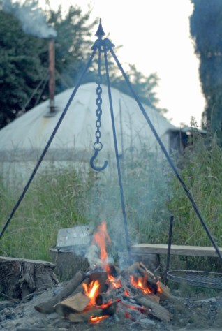 Campfire pit and the Yurt