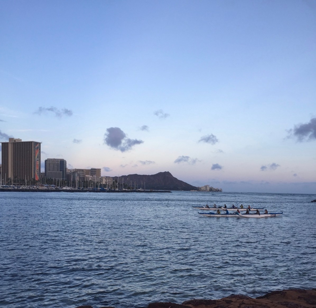 Rowers with Diamond Head in the background