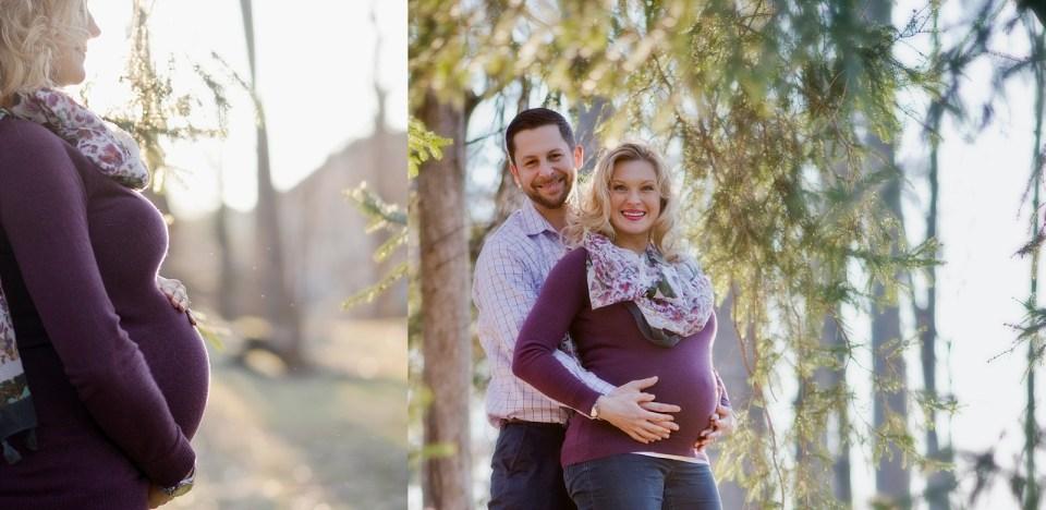 Winter Maternity Portraits in purple sweater at Cherry Hill Park in Falls Church, VA