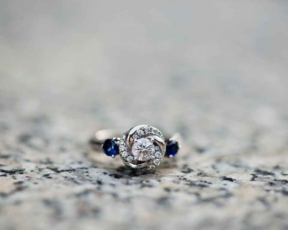 Saphire and Diamond Engagement Ring by Erin Tetterton Photography