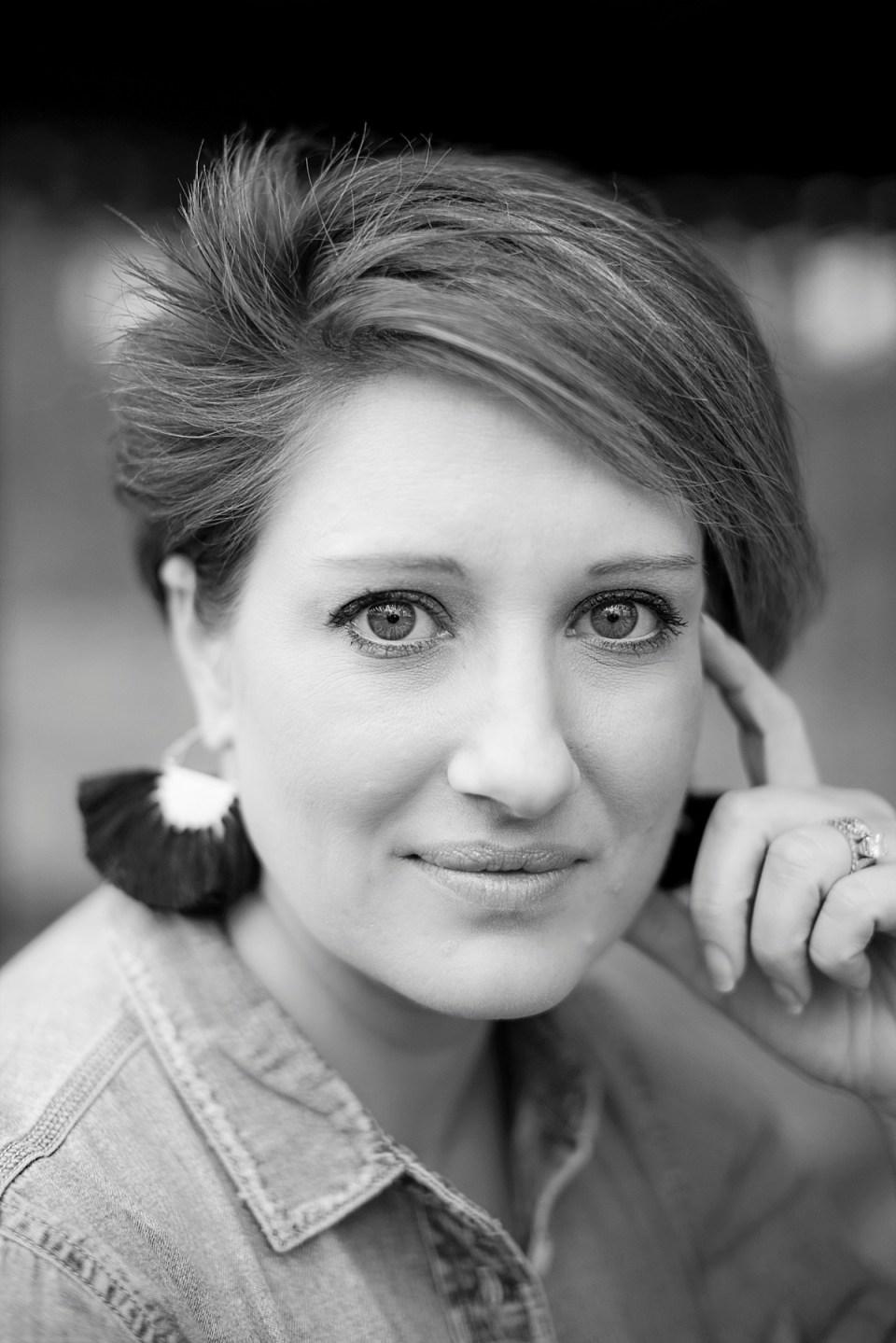 Headshot Portrait of Erin Tetterton in Black and White