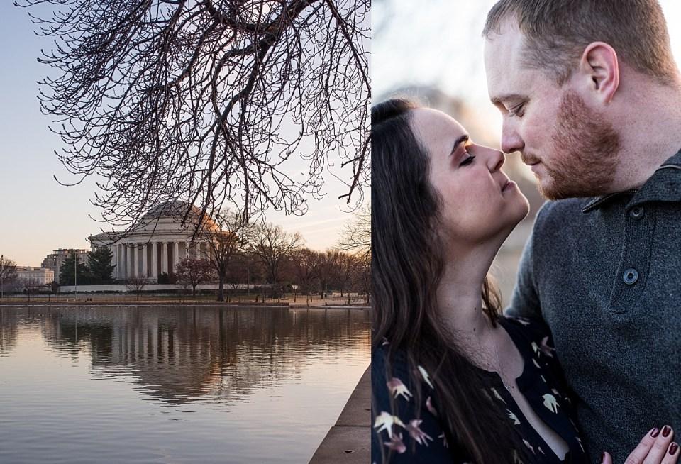 Winter Engagement Session Jefferson Memorial