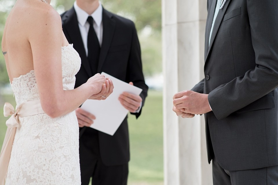 Wedding Ceremony in DC War Memorial by Erin Tetterton Photography