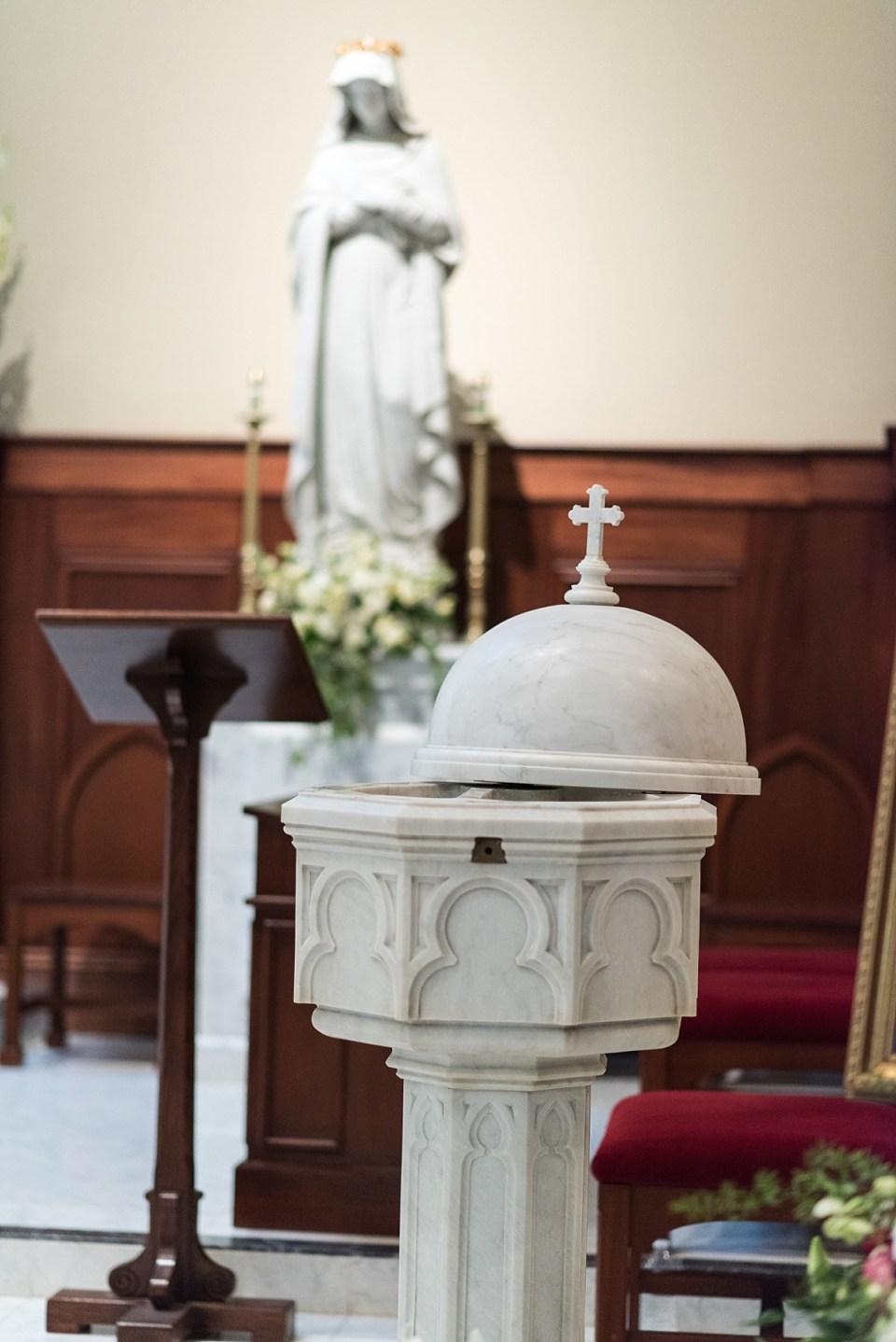 Baptism Font at St. Mary's Bascilica in Alexandria, VA