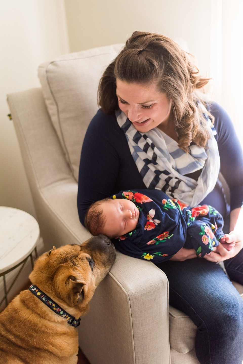 Newborn Girl and her dog - Springfield Newborn Photograph by Erin Tetterton Photography