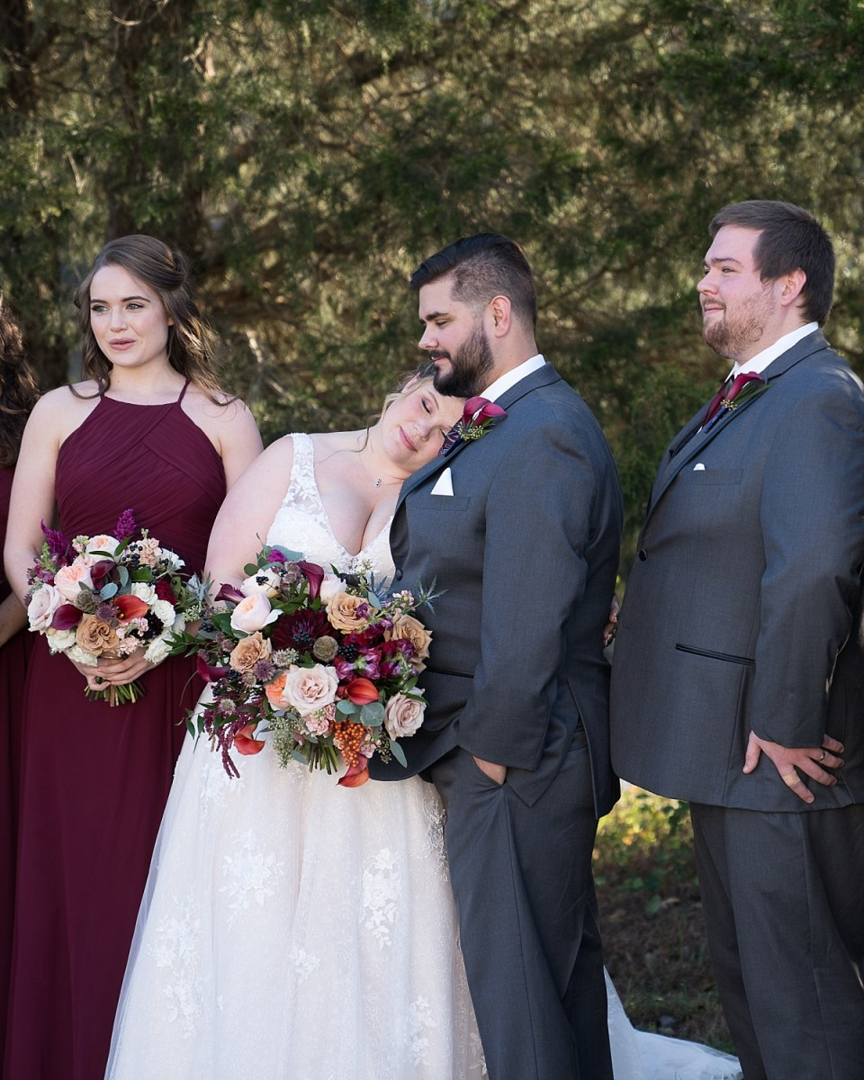 Bridal Party Portraits at Leesburg Wedding with Flowers by Lark Floral
