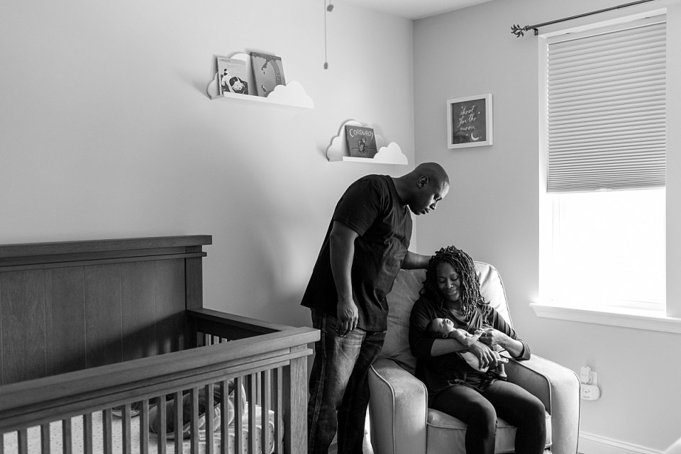 DC Newborn Photographer shows newborn at home