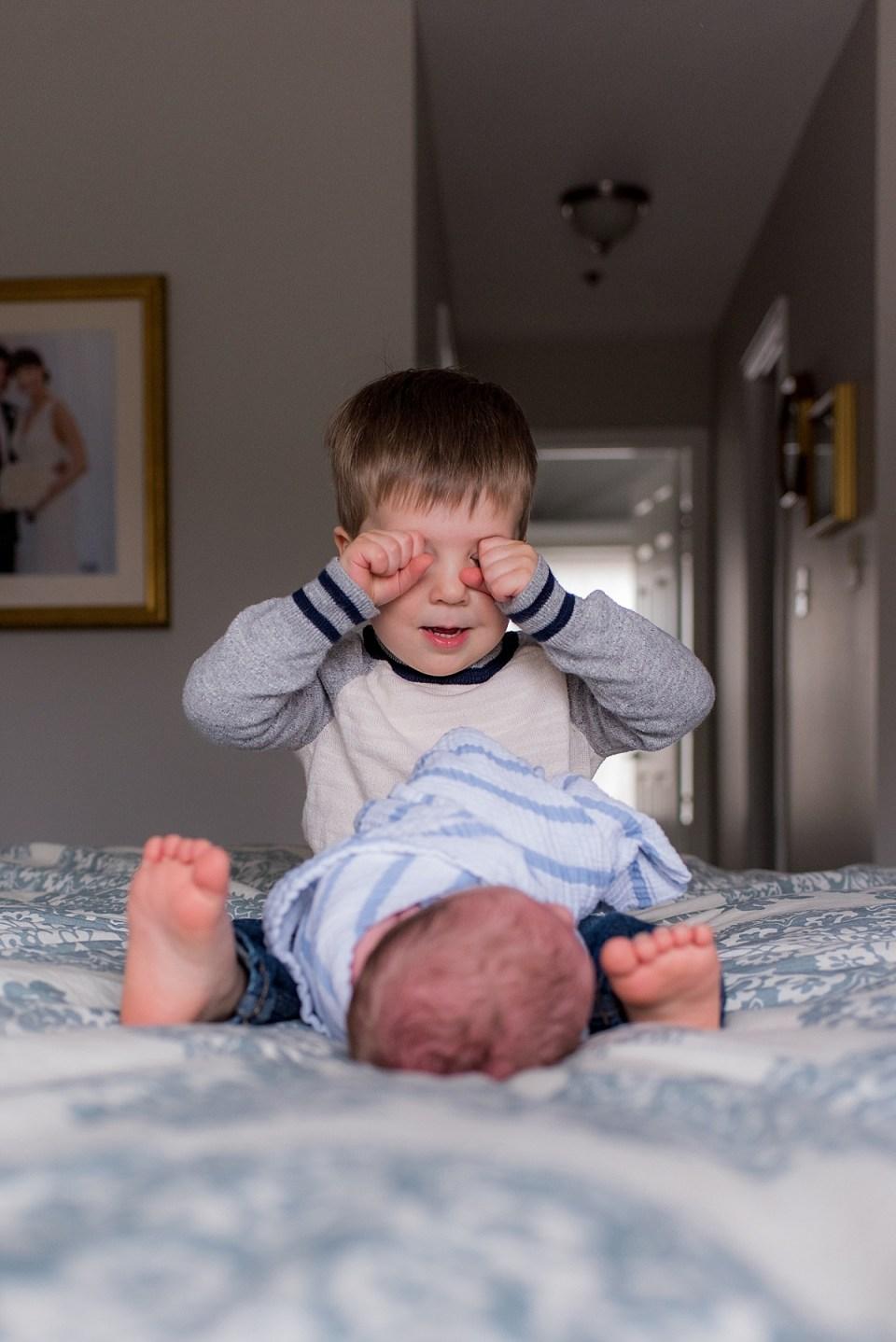 At Home Newborn Photography sibling poses