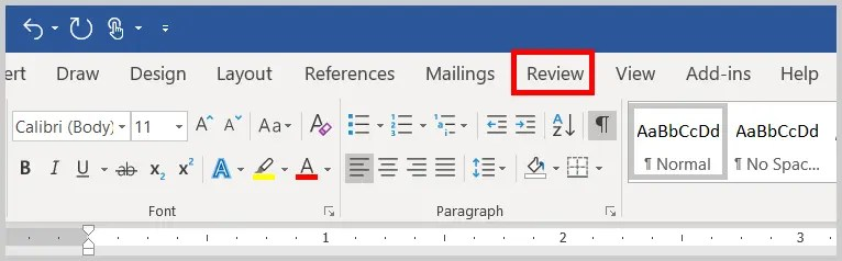 Image of Word 2019 Review Tab | How to open the Advanced Track Changes Options dialog box