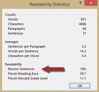 Passive sentences in the Readability Statistics window