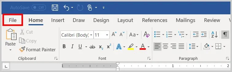 Image of Word 365 / Word 2019 File Tab | Four Tips for Using the Spelling and Grammar Check in Word