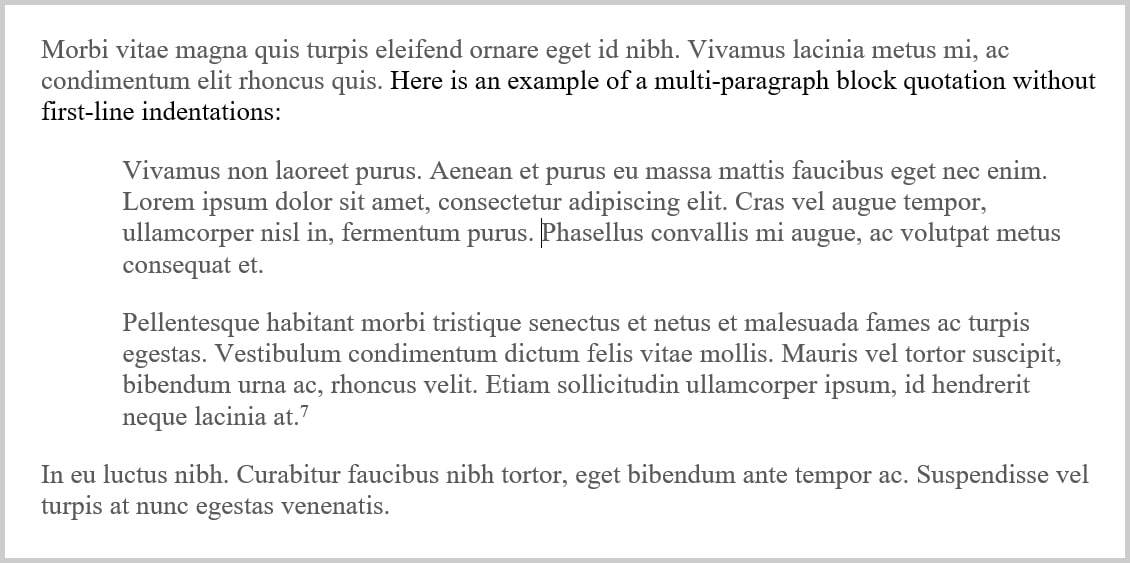 Block quotations part 2 how to format block quotations block quotation with multiple paragraphs without first line indentations altavistaventures Image collections