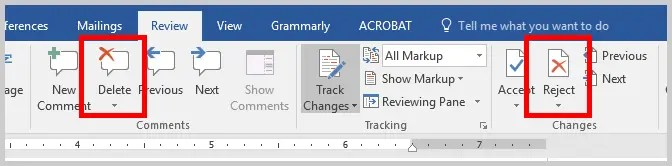 Word 2016 Delete Comment Button and Reject Button