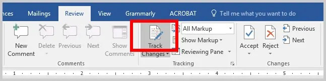 Word 2016 Track Changes Button