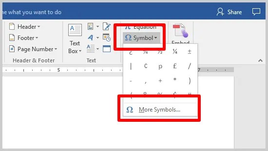 Three Ways to Insert Accent Marks in Microsoft Word | Image of Word 2016 Symbol Drop-Down Menu