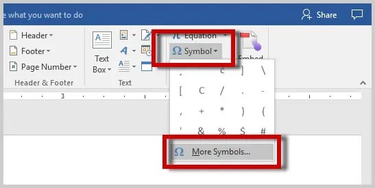 Image of Word More Symbol Option | How to Insert Special Characters in Microsoft Word