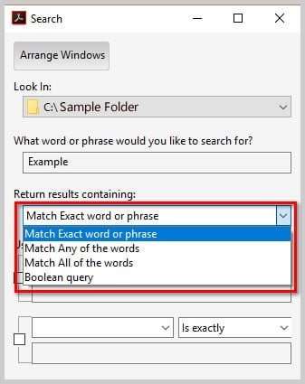 Image of Adobe Acrobat DC Advanced Search Dialog Box Return Results Parameters   How to Search Multiple PDFs with Adobe Acrobat's Advanced Search