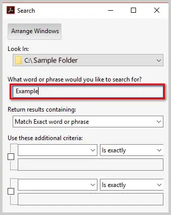 Image of Adobe Acrobat DC Advanced Search Dialog Box Text Box   How to Search Multiple PDFs with Adobe Acrobat's Advanced Search