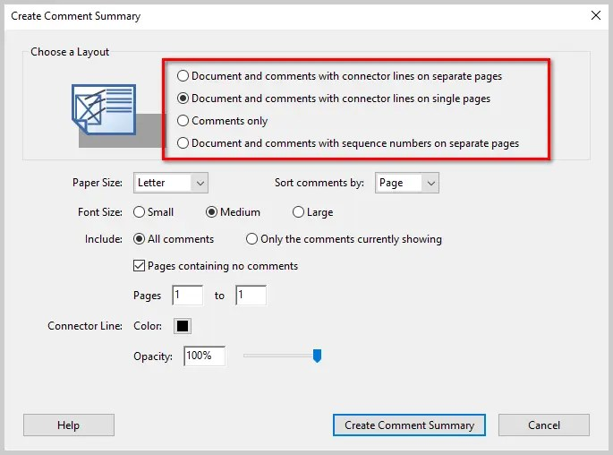 Image Of Adobe Acrobat DC Create Comment Summary Dialog Box