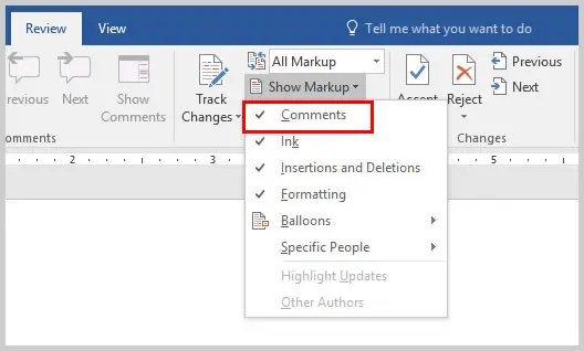 Microsoft Word Show Markup Drop-Down Menu | How to Copy and Paste Word Comments