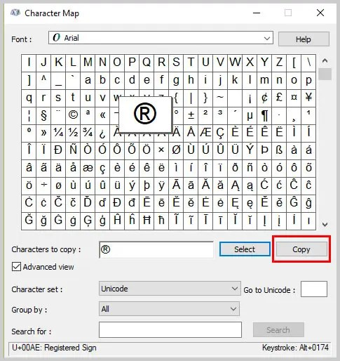 Windows 10 Character Map Copy Button | How to Insert Trademark, Copyright, and Registered Symbols in PDFs