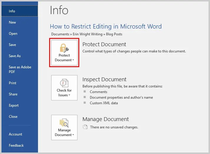 Microsoft Word 2016 Proect Document Option in the Backstage View | How to Restrict Editing in Microsoft Word