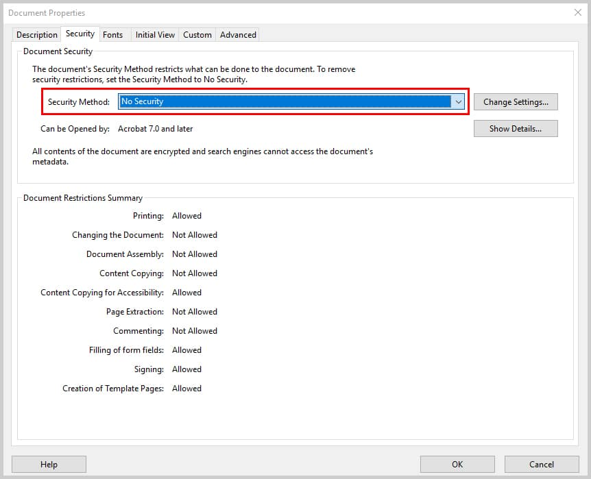 Image of Adobe Acrobat Document Properities Dialog Box Security Method No Security | How to Restrict Editing in Adobe Acrobat