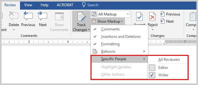 Image of Microsoft Word Specific People Menu | How to View Specific Reviewers' Comments and Edits in Microsoft Word