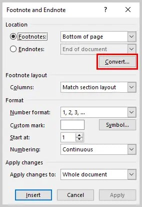 Image of Microsoft Word Convert Button | How to Convert Individual Footnotes to Endnotes