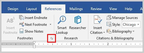 Image of Microsoft Word Footnotes and Endnotes Dialog Box Launcher | How to Convert Individual Footnotes to Endnotes