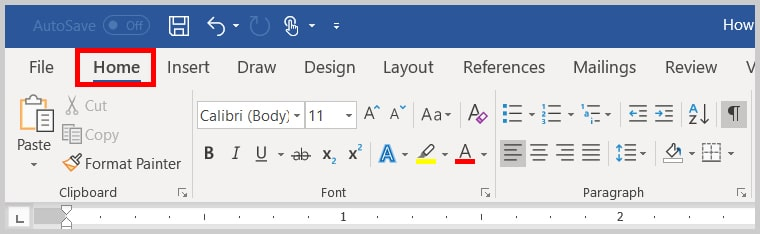 Image of Word 2019 Home Tab | Step 1 in How to Change the Font and Font Size of Comments in Word