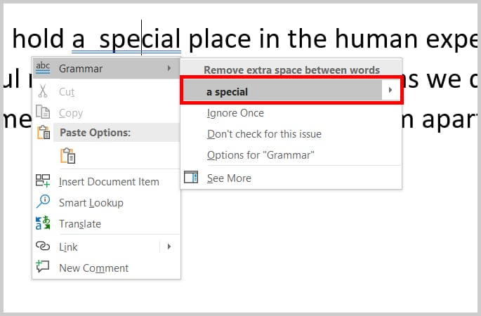 Image of Word's Right-Click Grammar Pop-Up Menu