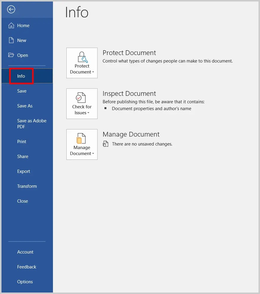 Image of Word 365 / Word 2019 Info Tab in the Backstage View | Step 2 in How to Add Tags in Word
