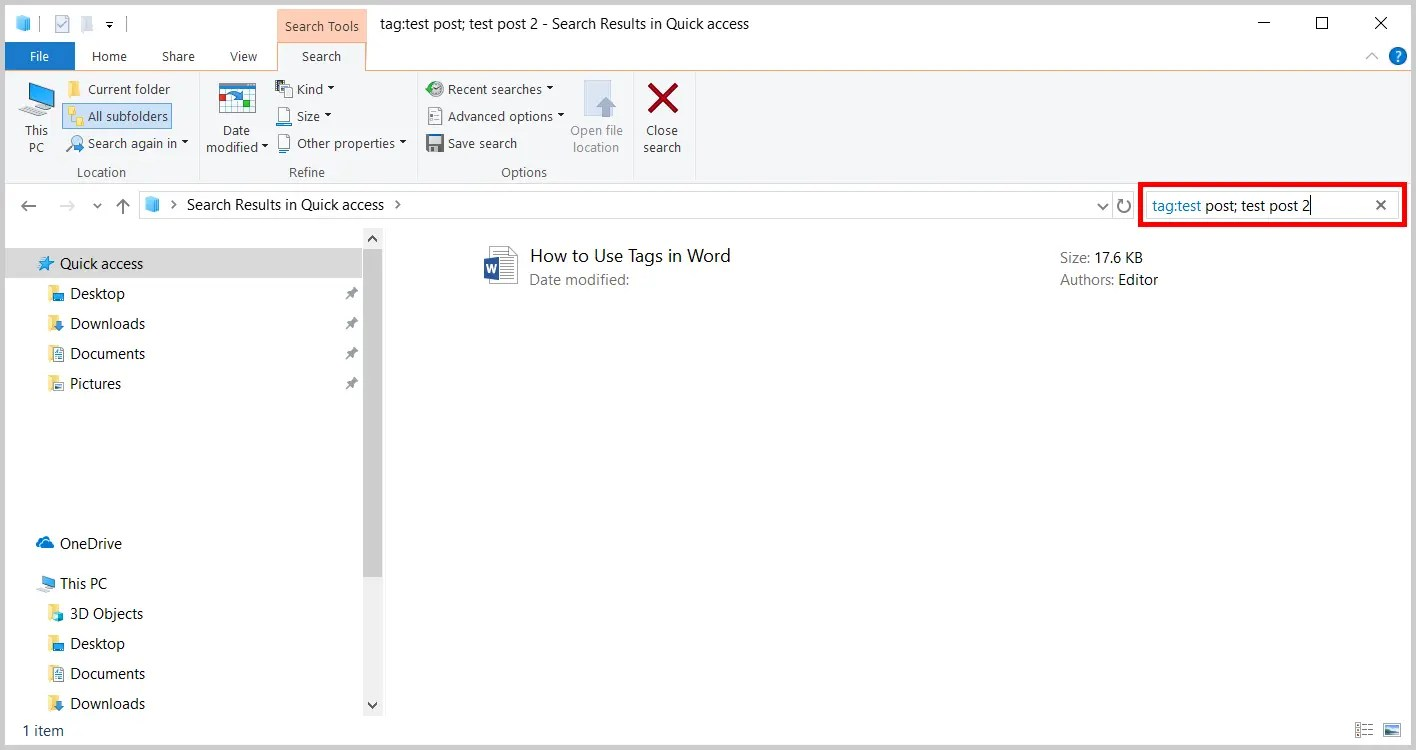 Image of Windows File Explorer Search Box | How to Find Known Tags