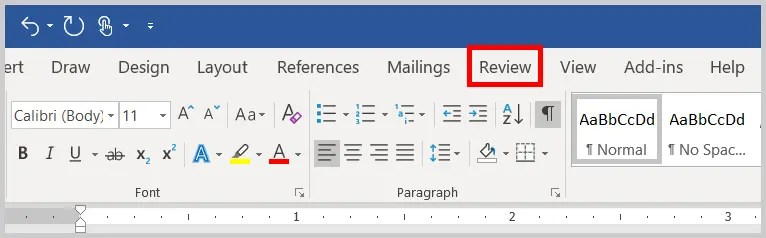 Image of Word 365 / Word 2019 Reivew Tab | Step 2 in How to Copy and Paste Text with Comments and Track Changes in Word