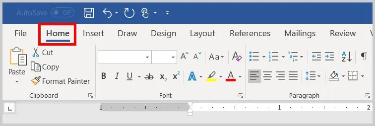 Image of Word 365 / Word 2019 Home Tab | Step 1 in How to Find and Replace Formatting Applied Anywhere in a Word Document
