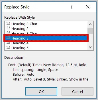 Image of Word 365 / Word 2019 Heading 3 in the Replace Style Dialog Box | Step 12 in How to Find and Replace Formatting Applied to Specific Text in a Word Document