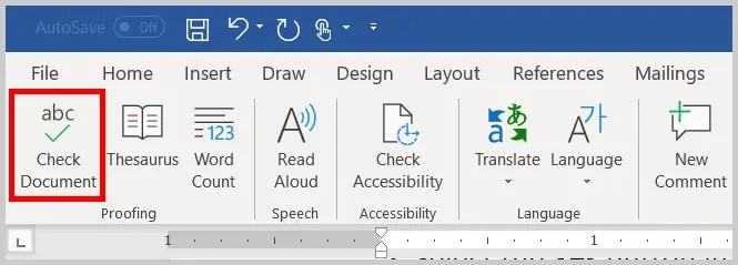 Image of the Check Document Button in Word 2019 / Word 365