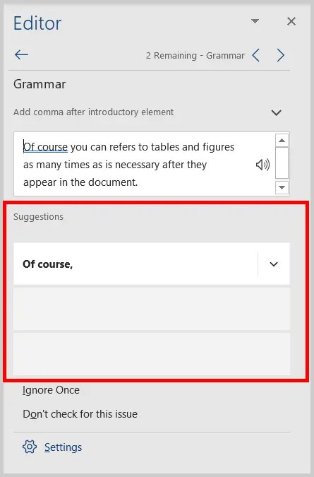 Image of a Grammar Suggestion in the Editor Pane in Word 2019 / Word 365