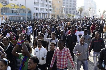 Eritrean refugees demonstrate in Israel