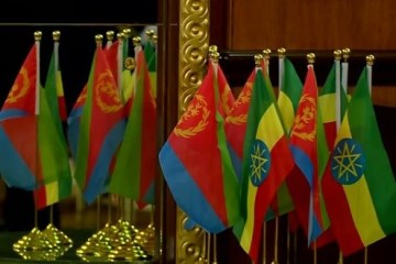 Eritrean and Ethiopian flags at talks