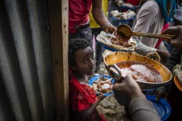Displaced being fed in a centre in Mekelle